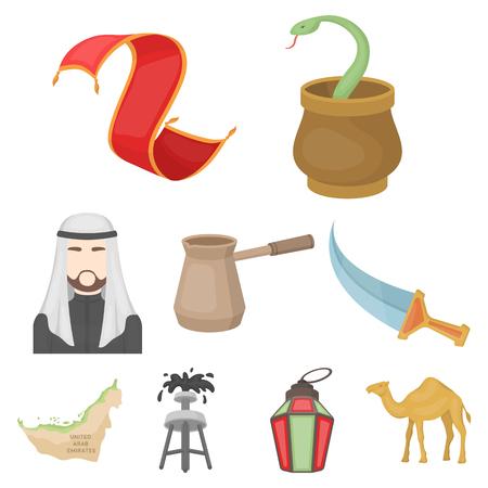 Arab Emirates set icons in cartoon style. Big collection of Arab Emirates vector symbol stock