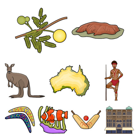National symbols of australia. Web icon on Australia theme.Australia icon in set collection on cartoon style vector symbol stock web illustration.