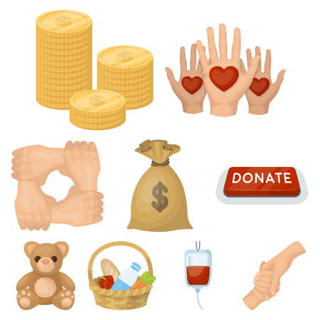 Charitable Foundation. Icons on helping people and donation.Charity and donation icon in set collection on cartoon style vector symbol stock web illustration. Imagens - 85323332