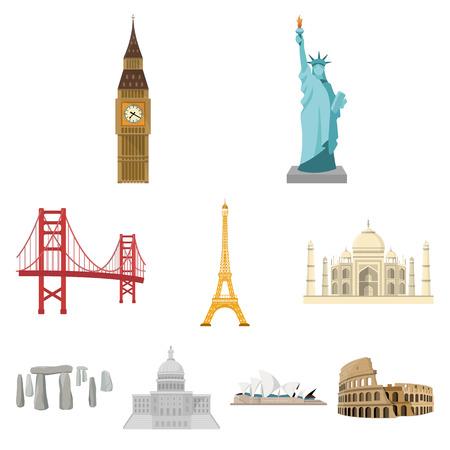 Attrazioni dei paesi del mondo. Famosi edifici e monumenti di diversi paesi e città. Icona dei paesi nella raccolta dell'insieme sull'illustrazione di web delle azione di simbolo di vettore di stile del fumetto.