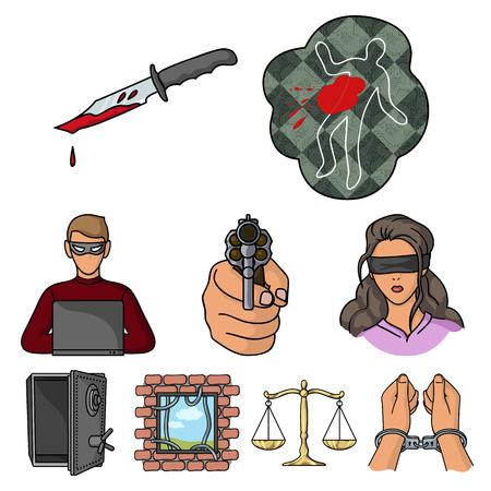 Verbrechen stellen Icons im Cartoon-Stil. Große Sammlung Verbrechenvektorsymbolvorrat Standard-Bild - 85324556
