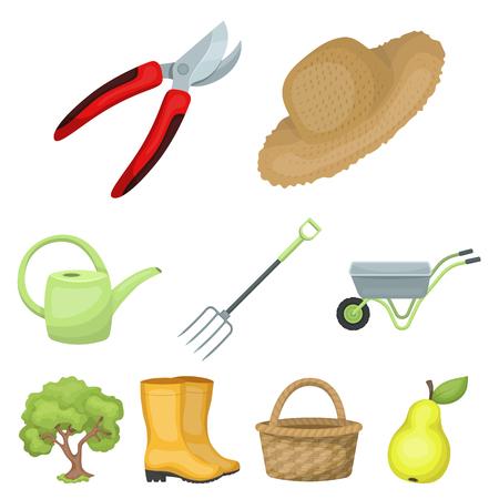 Set von Bildern über Gartenarbeit. Dorf, Gemüsegarten, Garten, Ökologie Bauernhof- und Gartenarbeitikone in der Satzsammlung auf Karikaturartvektorsymbolvorrat-Netzillustration.