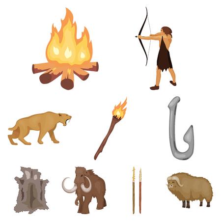 Steentijd vastgestelde pictogrammen in beeldverhaalontwerp. Grote inzameling van de voorraadillustratie van het steentijd vectorsymbool