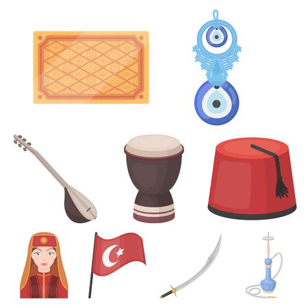 saz: Turkey set icons in cartoon style. Big collection of Turkey vector symbol stock illustration