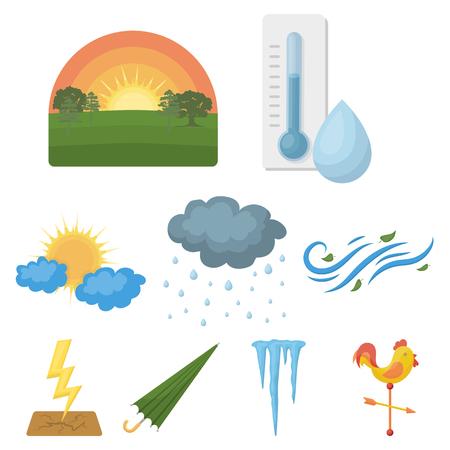 날씨 만화 스타일의 아이콘을 설정합니다. 날씨 벡터 기호 재고 일러스트의 큰 컬렉션 일러스트
