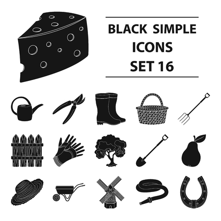 secateurs: Mill, gloves, fence and other farm equipment. Farm and gardening set collection icons in black style vector symbol stock illustration web. Illustration