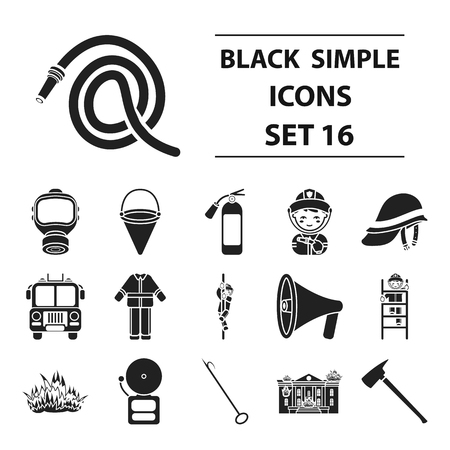 Fire department set icons in black style. Big collection fire department vector symbol stock illustration Фото со стока - 85450203