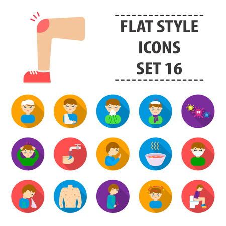 infected: Sick set icons in flat style. Big collection sick vector symbol stock illustration