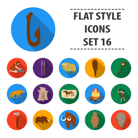 truncheon: Stone age set icons in flat style. Big collection of stone age vector symbol stock illustration