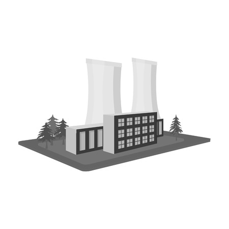 Metallurgical plant. Factory and industry single icon in monochrome style isometric vector symbol stock illustration web.