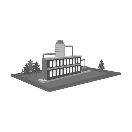 Verwerking fabriek. Fabriek en industrie één pictogram in zwart-wit stijl isometrisch vector de voorraadweb van de symboolvoorraad.