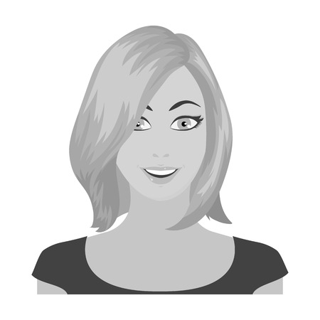 The face of a woman with a hairdo. Face and appearance single icon in monochrome style vector symbol stock illustration web.