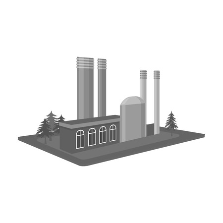 Processing factory. Factory and industry single icon in monochrome style isometric vector symbol stock illustration web.