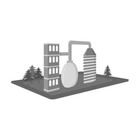 premises: Processing factory. Factory and industry single icon in monochrome style isometric vector symbol stock illustration .