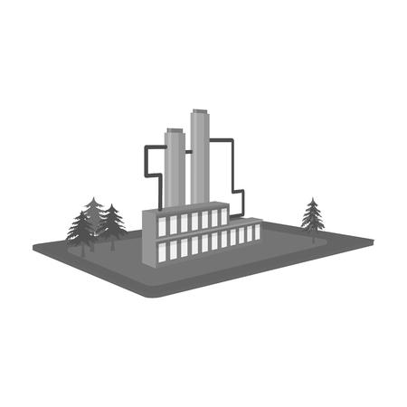 Verwerking fabriek. Fabriek en industrie één pictogram in zwart-wit stijl isometrische vector symbool stock illustratie.