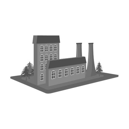 Verwerking fabriek. Fabriek en industrie één pictogram in zwart-wit stijl isometrische vector symbool stock illustratie. Vector Illustratie