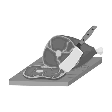 meat single icon in monochrome style.Meat vector symbol stock illustration .
