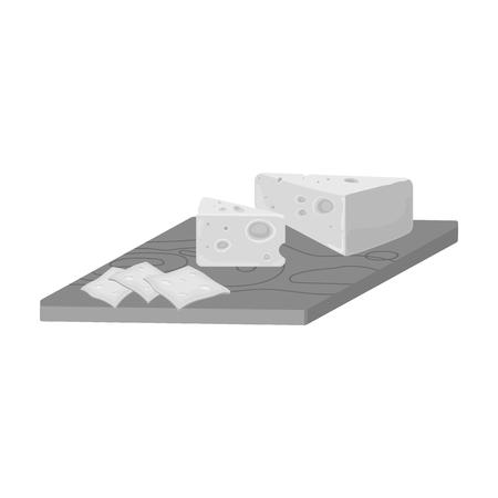 チーズ、モノクロ スタイルで 1 つのアイコン。チーズ ベクトル シンボル ストック イラスト。