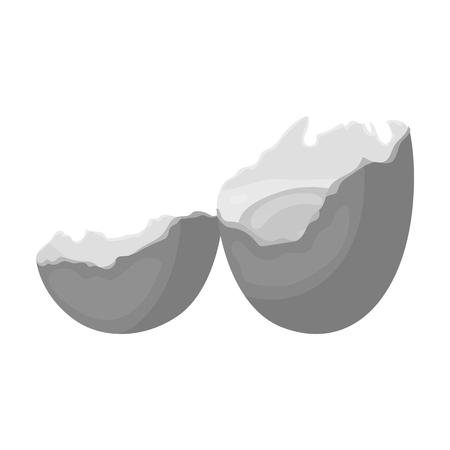 壊れた卵。卵。モノクロスタイルのベクトルシンボルのストックイラストウェブで単一のアイコンを調理します。 写真素材 - 85453821