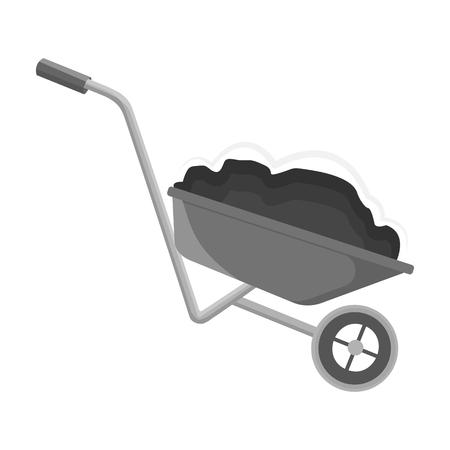 Wheelbarrow, single icon in monochrome style.Wheelbarrow vector symbol stock illustration web.