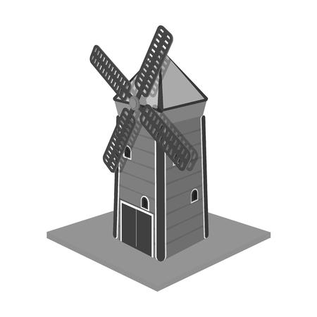 Windmill, single icon in monochrome style.Windmill vector symbol stock illustration web.