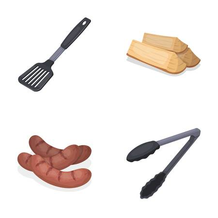 Blade kitchen, firewood, sausages and other for barbecue.BBQ set collection icons in cartoon style vector symbol stock illustration web.