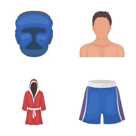Boxing, sport, mask, helmet.Boxing set collection icons in cartoon style vector symbol stock illustration web.