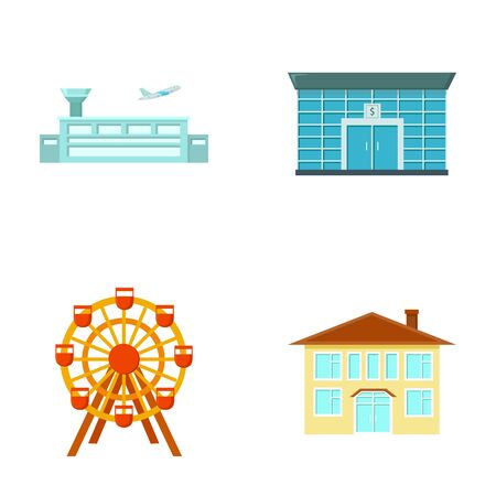 house logo: Airport, bank, residential building, ferris wheel. Building set collection icons in cartoon style vector symbol stock illustration web.