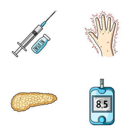 diabetes syringe: Syringe with insulin, pancreas, glucometer, hand diabetic. Diabet set collection icons in cartoon style vector symbol stock illustration web.