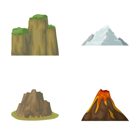 Sheer cliffs, a volcanic eruption, a mountain with a beach, a glacier. Different mountains set collection icons in cartoon style vector symbol stock illustration web. Illusztráció