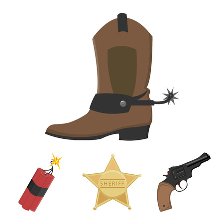 Star sheriff, Colt, dynamite, cowboy boot. Wild West set collection icons in cartoon style vector symbol stock illustration web. Stok Fotoğraf - 85417006
