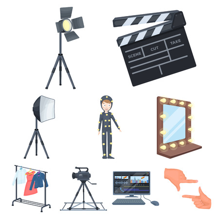 mirror frame: A movie camera, a floodlight, a chromakey and other equipment for the cinema.Making movie set collection icons in cartoon style vector symbol stock illustration web. Illustration