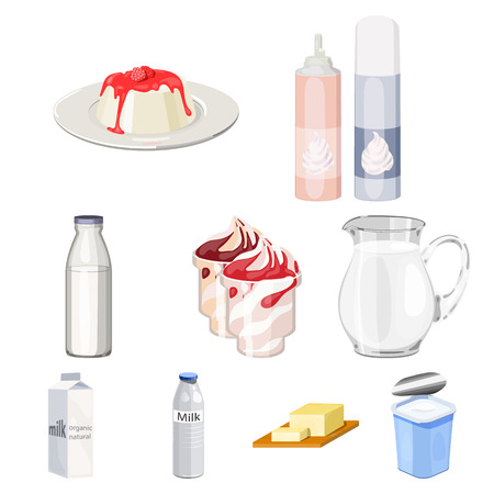 Milk product and sweet set icons in cartoon design. Big collection of milk product and sweet vector symbol stock illustration