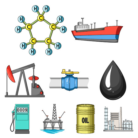 Oil rig, pump and other equipment for oil recovery, processing and storage.Oil set collection icons in cartoon style vector symbol stock illustration web. Imagens - 85417655