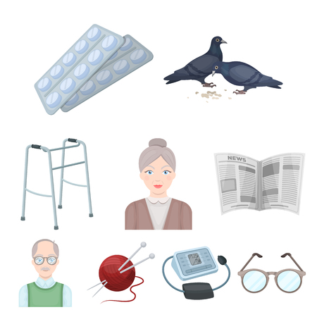 Armchair, slippers, tonometer and other attributes of old age.Old age set collection icons in cartoon style vector symbol stock illustration web.