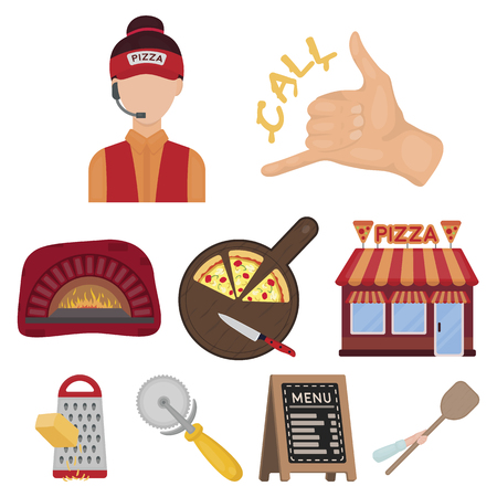 Pizza and pizzeria set icons in cartoon style. Big collection of pizza and pizzeria vector symbol stock.