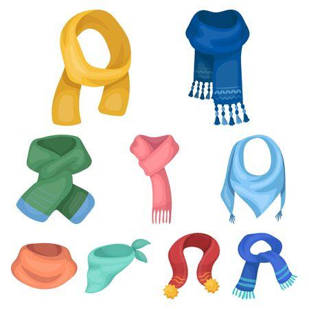 Beautiful woolen silk-colored scarves
