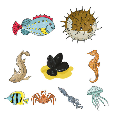 Marine and river inhabitants. Fish, whales, octopuses.Sea animals icon in set collection on cartoon style vector symbol stock web illustration. Stok Fotoğraf - 85398925
