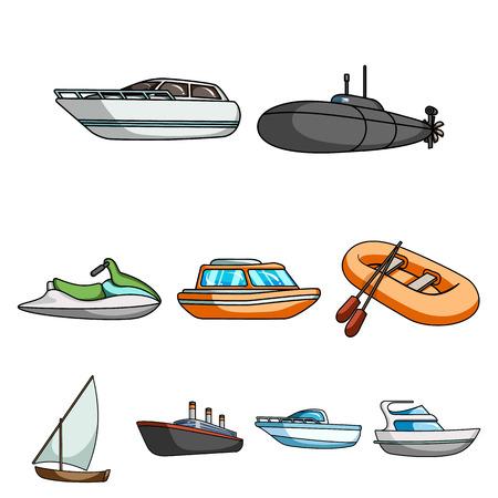 Zeevervoer, boten, schepen. Om mensen te bewegen, onweersbuien. Schip en water transport pictogram in set verzameling op cartoon stijl vector symbool stock web illustratie.