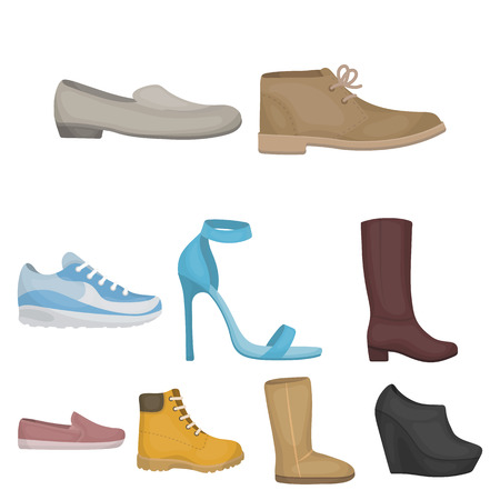 Set of shoes icons in cartoon style vector illustration Illustration