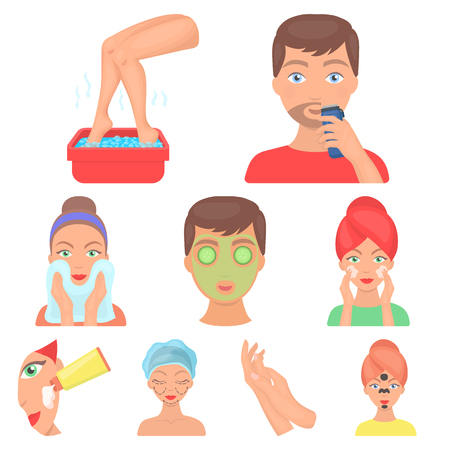 Skin care set icons in cartoon style vector illustration