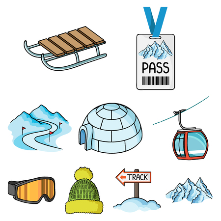 Set of ski resort icons in cartoon style vector illustration