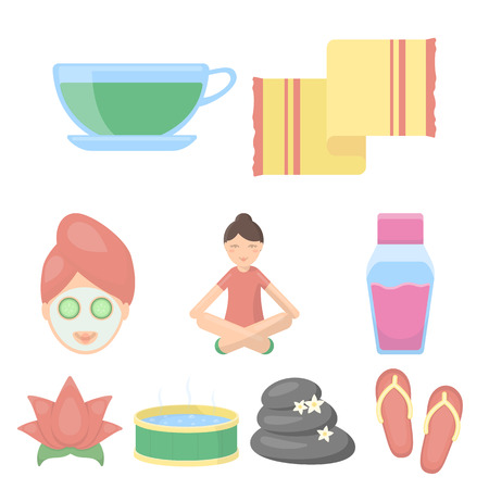 Spa set icons in cartoon style. Big collection of spa vector symbol stock Çizim