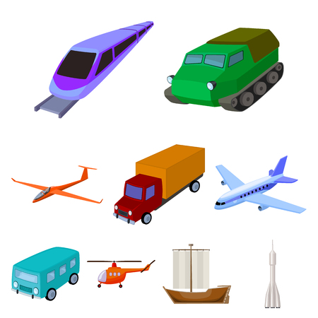 Set of pictures about types of transport. Transportation of people, cargo. Ground, underwater, air transport. Transport icon in set collection on cartoon style vector symbol stock web illustration. Illustration