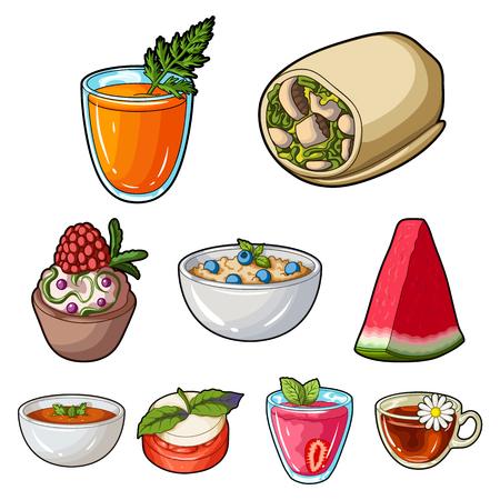 Photos sur le végétarisme. Plat végétarien, nourriture végétarienne. Légumes, fruits, herbes, champignons. Icône de vaisselle végétarienne dans le set collection sur le dessin animé vector symbol stock stock web illustration. Banque d'images - 85399349