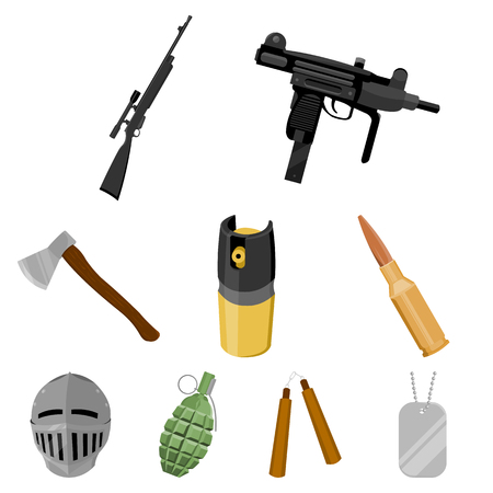 Weapon set icons in cartoon style. Big collection of weapon vector symbol stock. Illustration