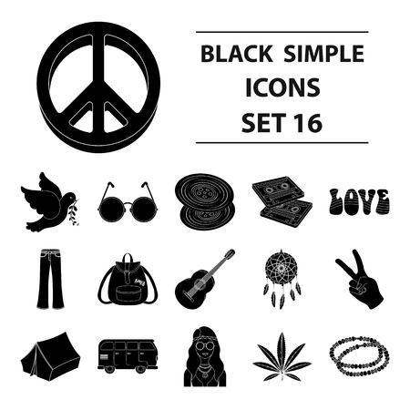platinum: Bird, hemp, leaf and other hippy equipment. Hippy set collection icons in black style vector symbol stock illustration web.
