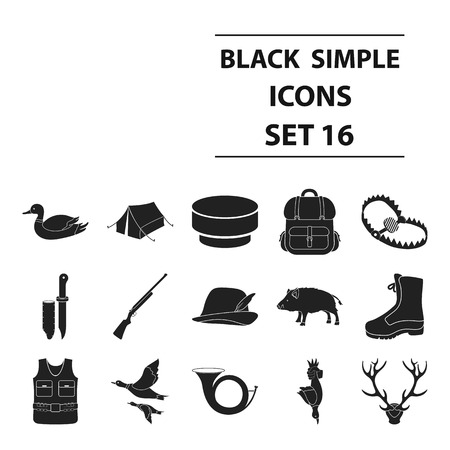 Hunting set icons in black style. Big collection of hunting vector illustration symbol.
