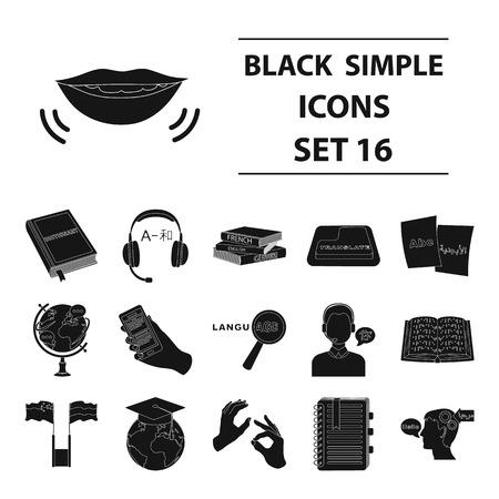Interpreter and translator set icons in black style. Big collection of interpreter and translator vector symbol stock illustration.