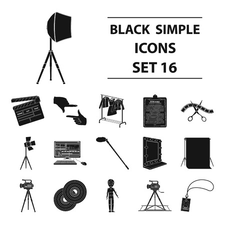mirror frame: A movie camera, a floodlight, a chromakey and other equipment for the cinema.Making movie set collection icons in black style vector symbol stock illustration .